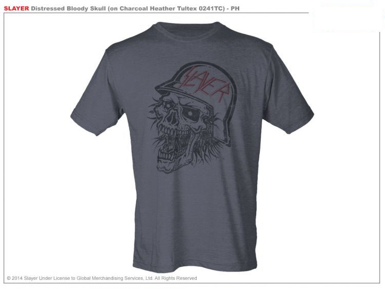 Slayer- Skull on a charcoal heather tri-blend ringspun cotton shirt