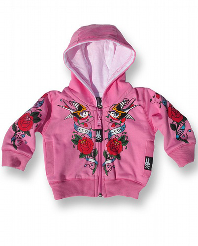 Forever Together Pink Zip Hoodie by Six Bunnies (S:0-3m, M:3-6m)