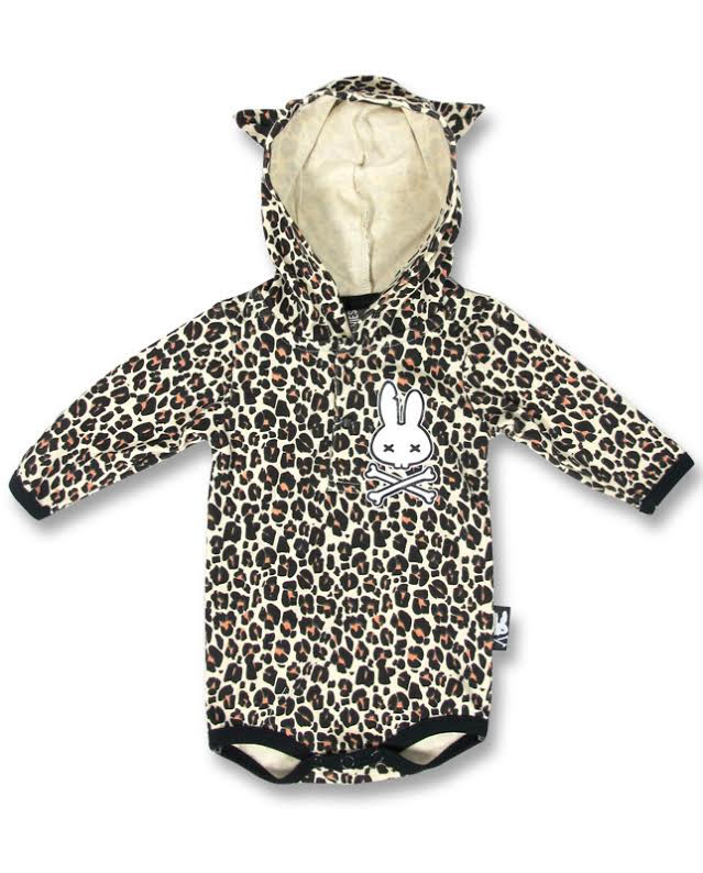 Hooded Leopard Onesie by Six Bunnies (S:0-3m, M:3-6m, L:6-12m, XL:12-18m)