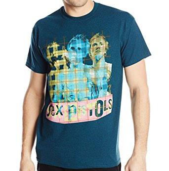 Sex Pistols- Plaid Johnny on a Midnight (Blue) Heather shirt