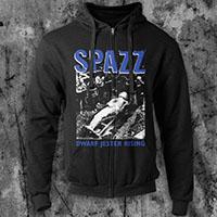 Spazz- Dwarf Jester Rising on a black zip up hooded sweatshirt