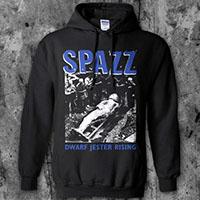 Spazz- Dwarf Jester Rising on a black hooded sweatshirt