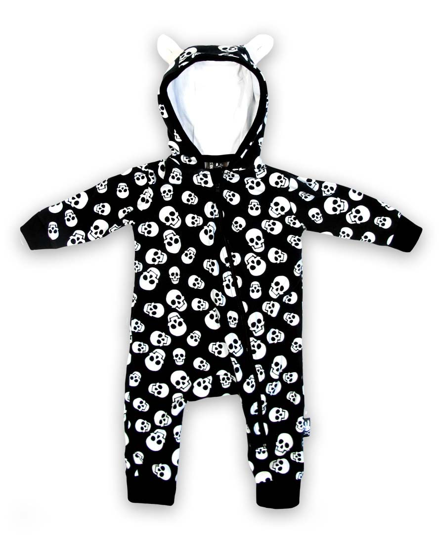 Polka Dot Skulls Hooded Bodysuit by Six Bunnies (S:0-3m, M:3-6m, L:6-12m, XL:12-18m)