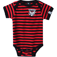Ramones- Red/Black Striped Onesie With Embroidered Eagle (S:0-3m, M:3-6m, L:6-12m, XL:12-18m)