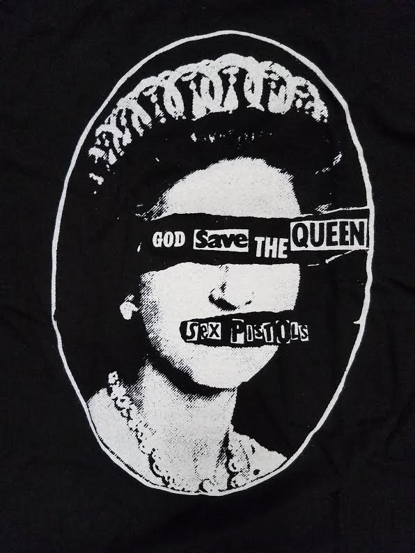 Sex Pistols- God Save The Queen on a black girls fitted shirt (Sale price!)