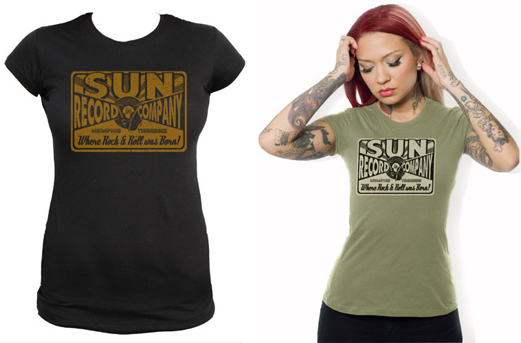 Sun Records-  Girls Bow Tie Logo Record Company Black Shirt by Steady Clothing - SALE