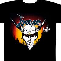 Venom- Skull on front, Legions on back on a black shirt (UK Import)
