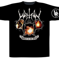 Watain- Sworn To The Dark on front, Wolf on sleeve, To The Death on back on a black shirt (UK Import)