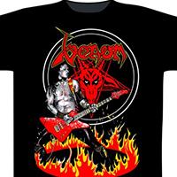 Venom- Cronos In Flames on a black shirt (UK Import)