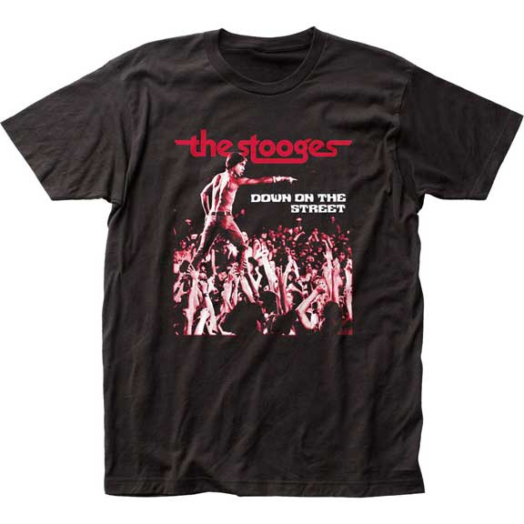 Stooges- Down On The Street on a black ringspun cotton shirt