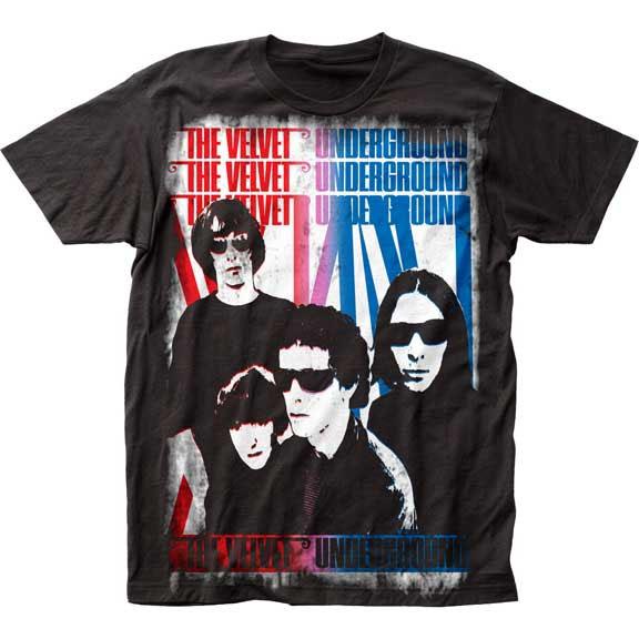 Velvet Underground- Union Jack Subway Print on a black shirt