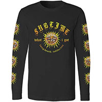 Sublime- What I Got on front, Suns on sleeves on a black long sleeve shirt
