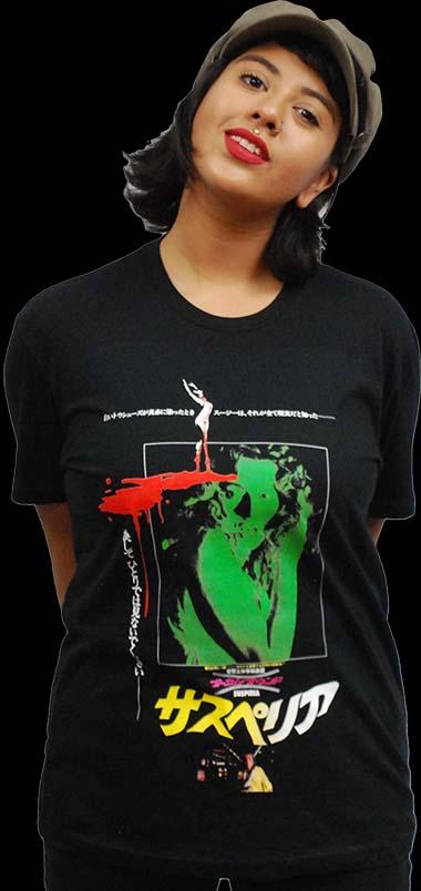 Suspiria- Japanese Design on a black ringspun cotton shirt (Dario Argento)