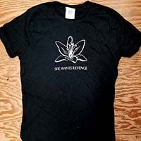She Wants Revenge- Flower on a black girls fitted shirt (Sale price!)