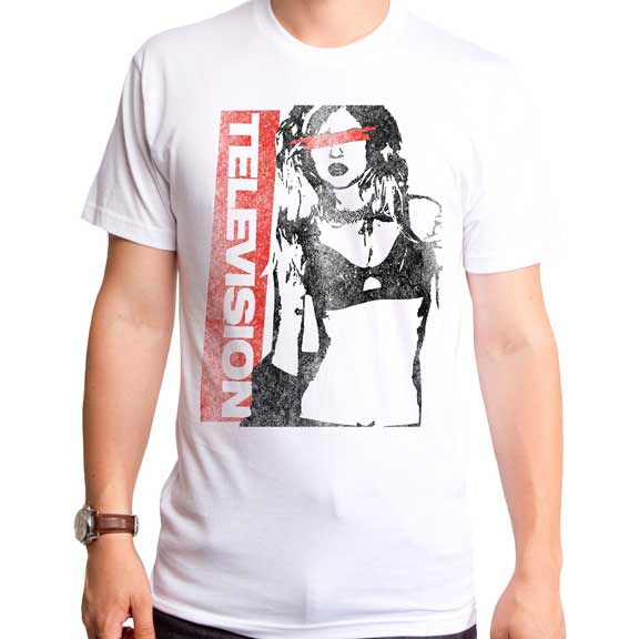 Television- Girl on a white ringspun cotton shirt by Goodie Two Sleeves