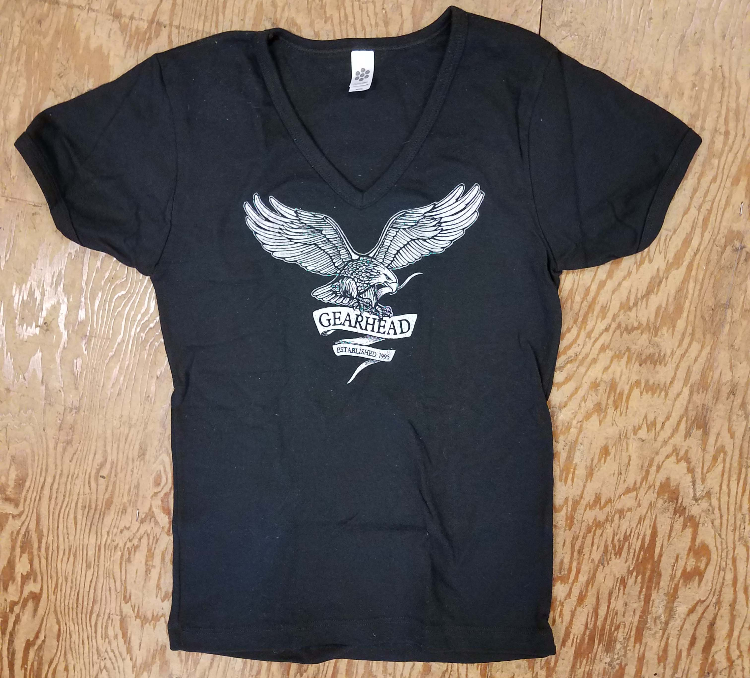 Gearhead Records- Eagle on a black girls v-neck shirt (Sale price!)