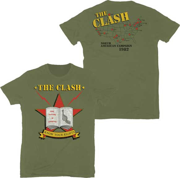 Clash- Know Your Rights on front, North American Campaign 1982 on back on an army green ringspun cotton shirt