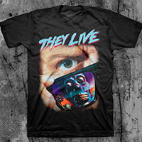 They Live- Sunglasses (Color Print, Blue & Red Logo) on a black shirt