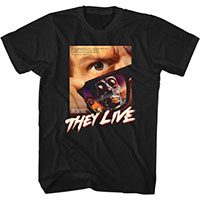 They Live- Movie Poster (Full Color, White Logo) on a black ringspun cotton shirt