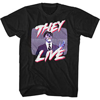 They Live- Politician On TV on a black ringspun cotton shirt
