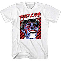 They Live- Face on a white ringspun cotton shirt