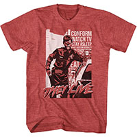 They Live- Cop on a heather red ringspun cotton shirt