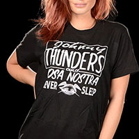 Johnny Thunders- Cosa Nostra on a black ringspun cotton shirt