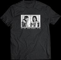 Johnny Thunders- 1969 Mug Shot on a black ringspun cotton shirt