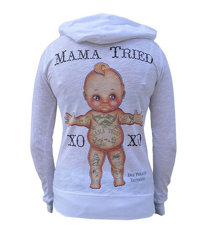 Mama Tried Girls Zip Hoodie by Tip Top Industries - in white