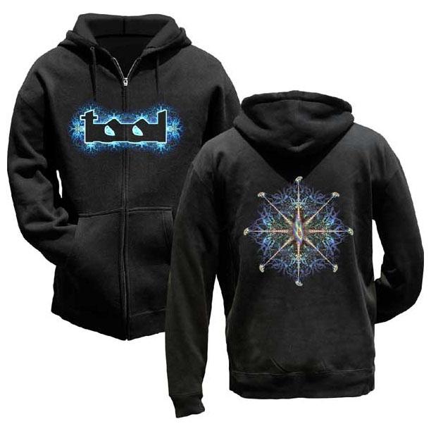Tool- Logo on front, Nerve Ending on back on a black zip up hooded sweatshirt