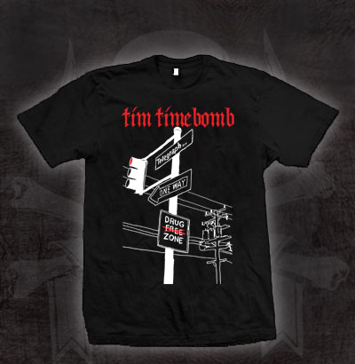 Tim Timebomb- Telegraph on a black ringspun cotton shirt (Sale price!)