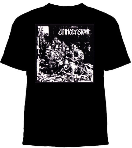 Unholy Grave- Inhumanity on a black YOUTH SIZED shirt (Sale price!)