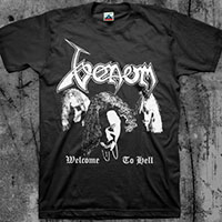 Venom- Welcome To Hell (Faces) on a black shirt