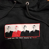 Thursday- Even Now The Robot Starts To Think on front, Logo on back on a black hooded sweatshirt (Sale price!!)