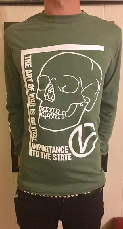 Virus- Art of War on an ARMY GREEN LONG SLEEVE shirt