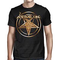 Venom Inc- Gold Pentagram on front, Metal We Bleed on back on a black shirt