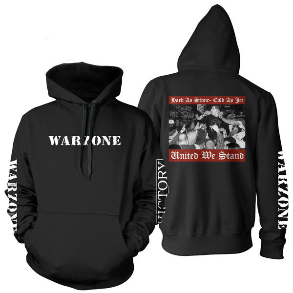 Warzone- Logo on front & sleeve, United We Stand on back on a black hooded sweatshirt