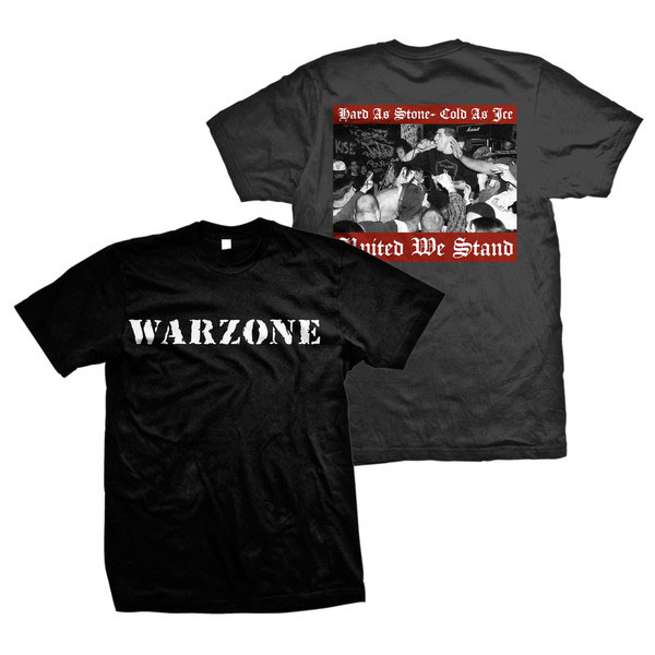 Warzone- Logo on front, United We Stand on back on a black shirt