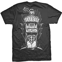 Reverend Horton Heat- Logo on front, Gas Pump on back on a black shirt