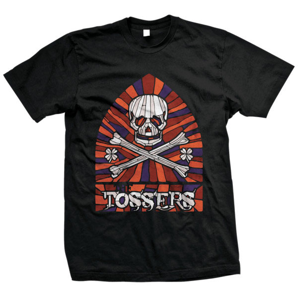Tossers- Stained Glass Skull on front, Logo on back on a black shirt