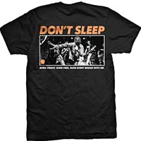 Don't Sleep- Logo on front, Burn Bright on back on a black shirt