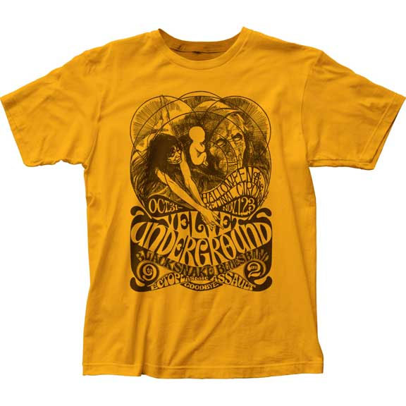 Velvet Underground- Halloween on a gold ringspun cotton shirt