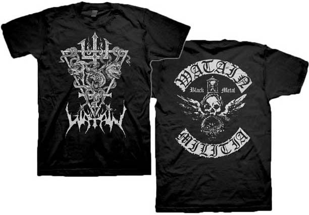 Watain- Snake & Wolf on front, Militia on back on a black shirt