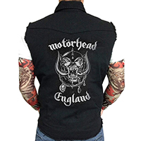Motorhead- Logo embroidered on front, England on back on a black sleeveless denim shirt/vest