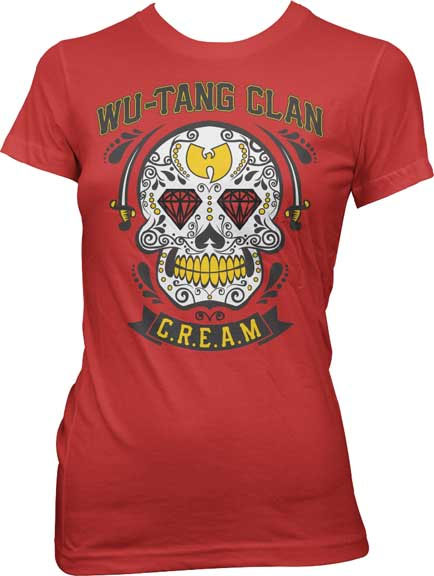 Wu Tang Clan- C.R.E.A.M. on a red girls fitted shirt