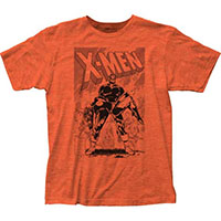 Marvel Comics- X Men on a heather orange ringspun cotton shirt