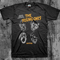 Young Ones- Fear Will Freeze You (Grey Faces) on a black shirt