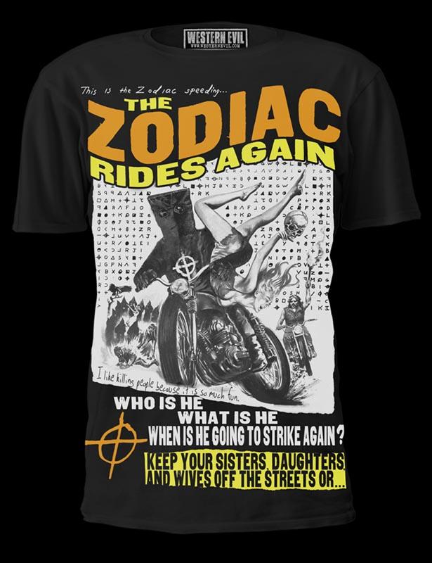 Zodiac Killer Rides Again Shirt by Western Evil - on black