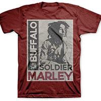 Bob Marley- Buffalo Soldier on a maroon shirt