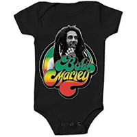 Bob Marley- Bob In Circle on a black onesie
